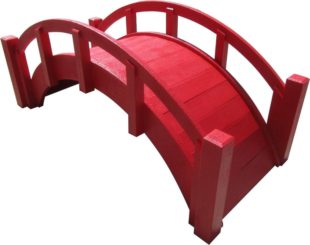 Garden Bridge - SamsGazebos Miniature Japanese Wood Garden Bridge, 25-Inch, Red