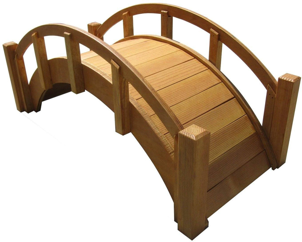 Garden Bridge - SamsGazebos Miniature Japanese Wood Garden Bridge, 25-Inch, Tan, Waterproofed