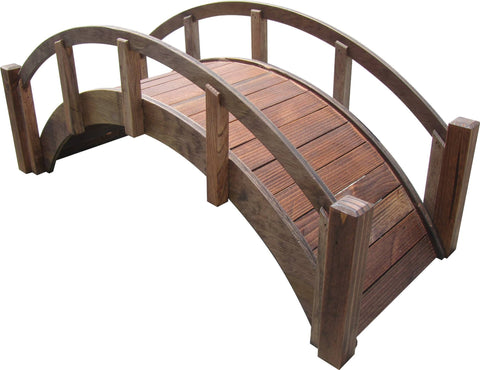SamsGazebos Miniature Japanese Wood Garden Bridge, 29-Inch, Treated Brown
