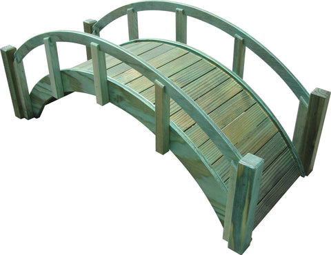 SamsGazebos Miniature Japanese Wood Garden Bridge, 29-Inch, Green, Treated