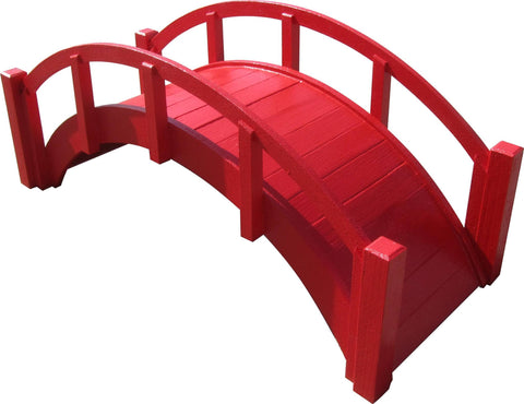 SamsGazebos Miniature Japanese Wood Garden Bridge, 29-Inch, Red
