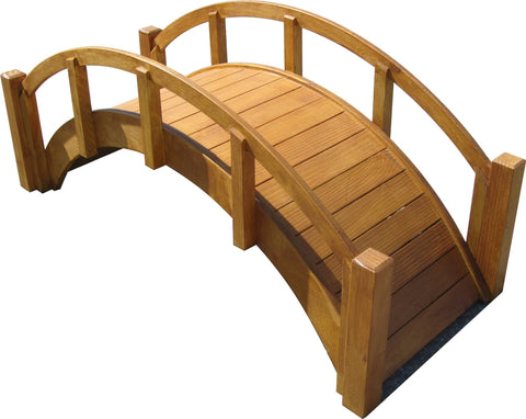 SamsGazebos Miniature Japanese Wood Garden Bridge, 29-Inch, Tan