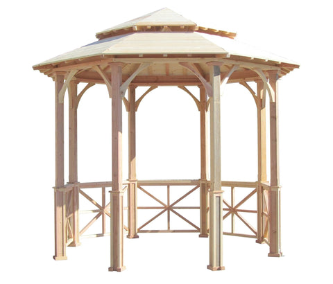 SamsGazebos 10' Octagon English Cottage Wood Garden Gazebo, Two-Tiered Roof, Cupola
