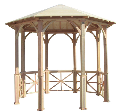 SamsGazebos 10' Octagon English Cottage Garden Wood Gazebo with Two-Tiered Roof
