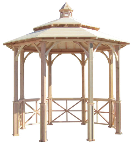 SamsGazebos 10' Octagon English Cottage Wood Garden Gazebo with Cupola
