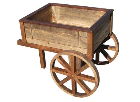 "SamsGazebos English Cottage Garden Wood Wheelbarrow Planter, Brown, 23-1/2"" Tall"