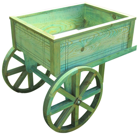 SamsGazebos English Cottage Garden Wood Flower Cart Planter, Treated Green