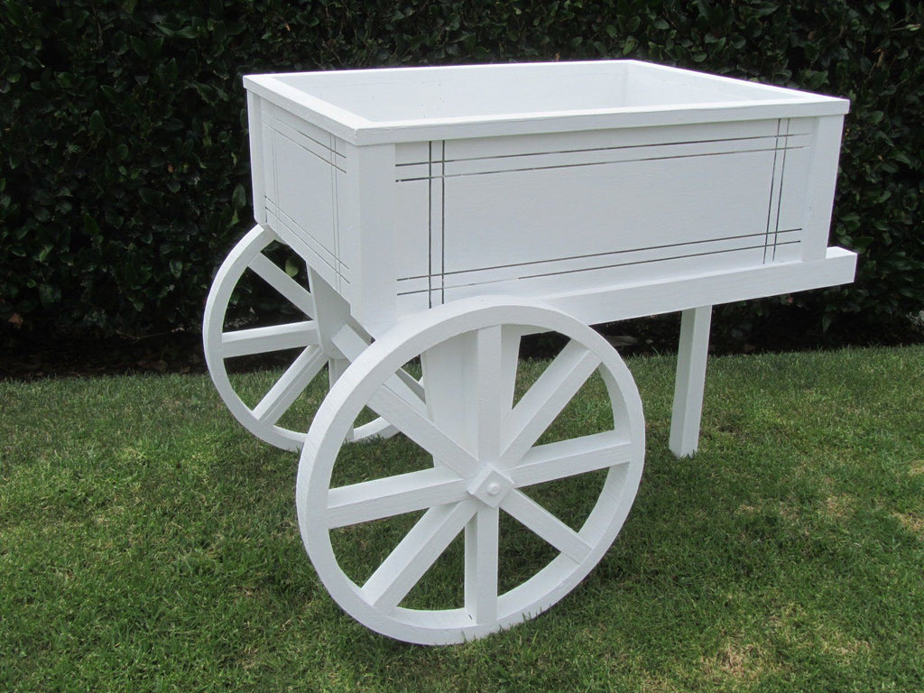 SamsGazebos English Cottage Garden Wood Flower Cart Planter, White - SamsGazebos DIY Garden Structures