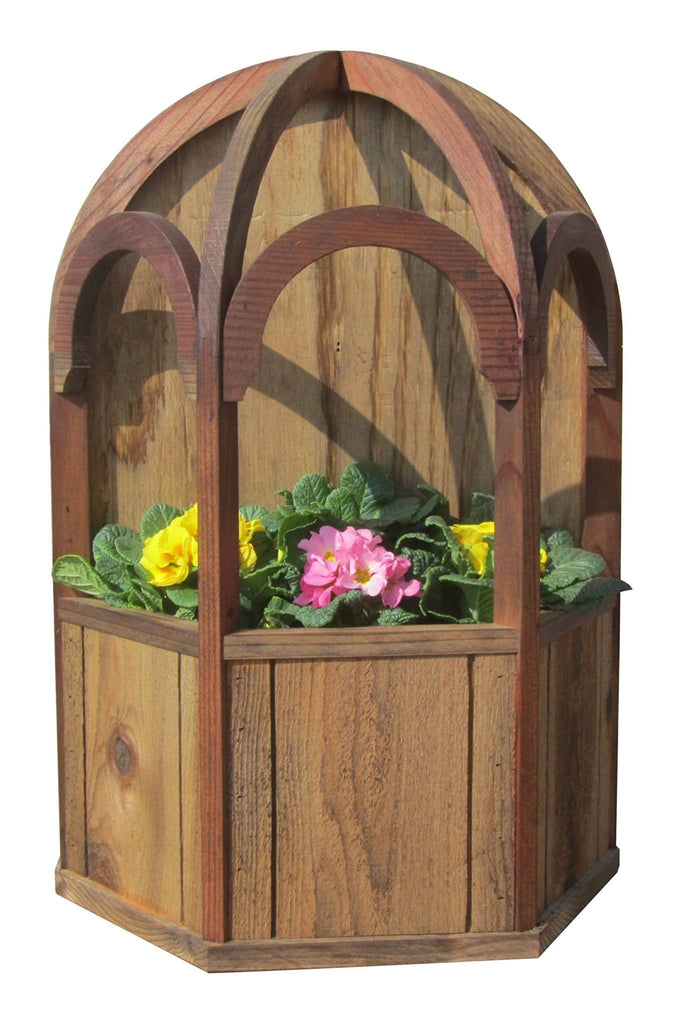 SamsGazebos Italian Wall Mount Wood Gazebo Planter with Dome Roof, Treated - SamsGazebos DIY Garden Structures