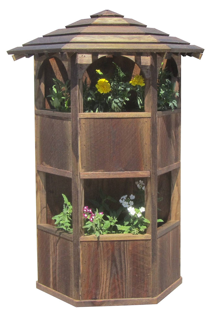 SamsGazebos Wall Mount Double Wood Planter with Roof, Treated Brown - SamsGazebos DIY Garden Structures