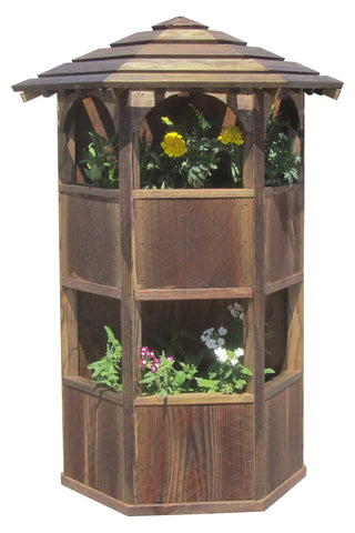 SamsGazebos Wall Mount Gazebo Planter with Two-Tiered Pagoda Roof, Treated Brown