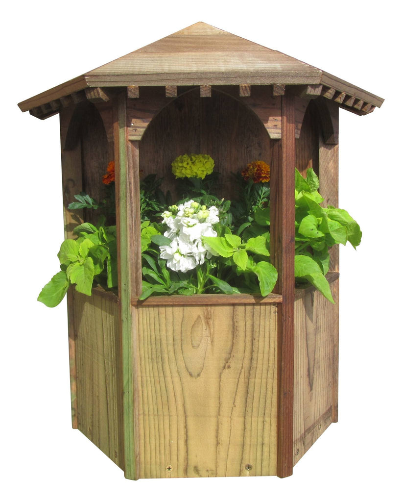 SamsGazebos Wall Mount English Garden Style Wood Gazebo Planter, Treated Brown - SamsGazebos DIY Garden Structures