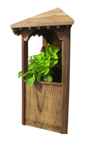 SamsGazebos Wall Mount English Garden Style Wood Gazebo Planter, Treated Brown