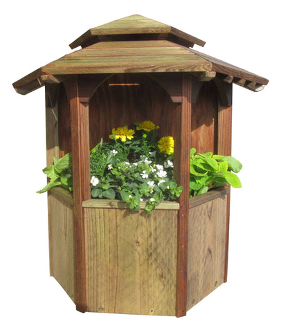 SamsGazebos Wall Mount Double Wood Planter with Roof