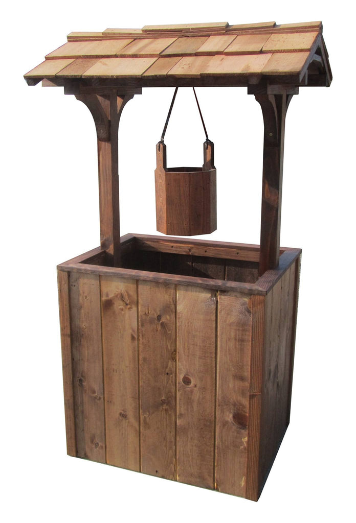 SamsGazebos Wishing Well Wood Planter, 4-1/2 Feet Tall, Treated Brown - SamsGazebos DIY Garden Structures