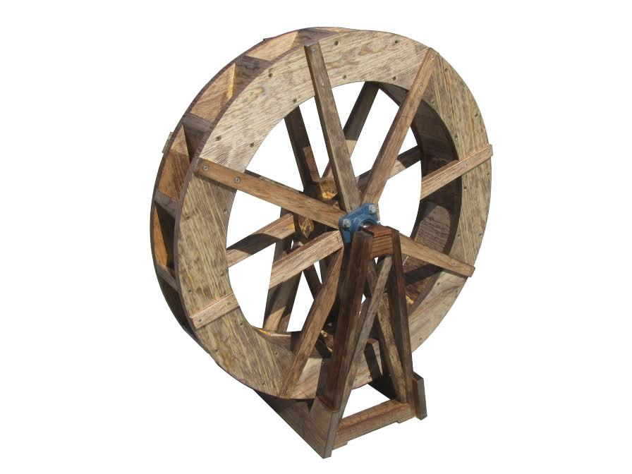 SamsGazebos 30-Inch Japanense Wooden Water Wheel, Free-Standing, Pine, Treated Brown - SamsGazebos DIY Garden Structures