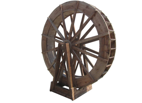 SamsGazebos 8-foot Japanese Wood Water Wheel, Free-Standing, Treated Brown