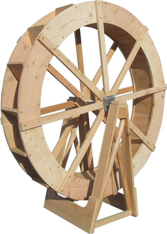 SamsGazebos 30-Inch Japanense Wooden Water Wheel, Free-Standing, Pine, Treated Brown