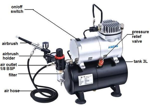 AS186K Vigiart  Airbrush and Compressor Combo
