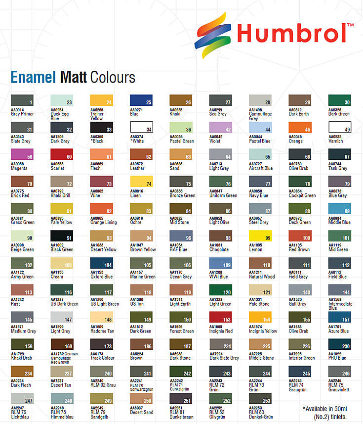 Humbrol Enamel 14ml Tins : Matt Colours : #119 - 250