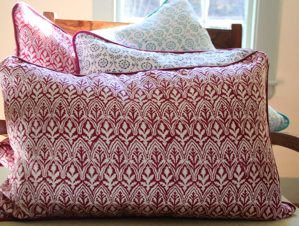 Burgundy Linen Decorative Pillow Cover