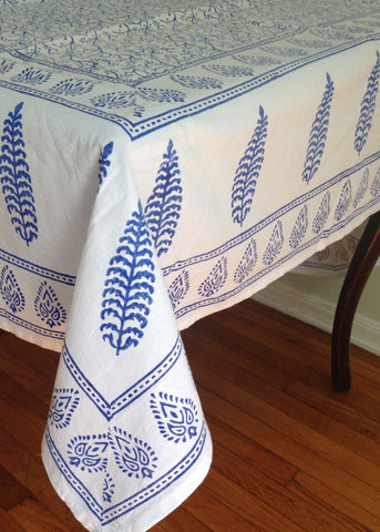 Blue Block Printed Table Cloth