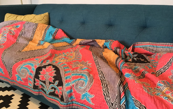Colorful Ethically Sourced Kantha Throw Blanket