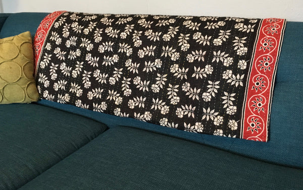 Red & Black Ethically Sourced Kantha Throw Blanket