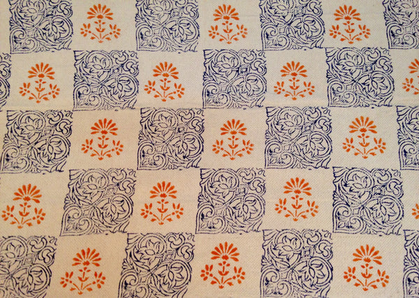 Orange-Blue Block Printed Rug