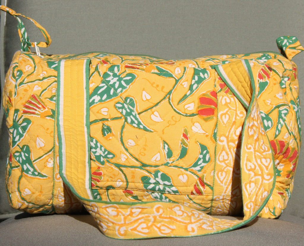 Yellow Block Printed Duffel - Small