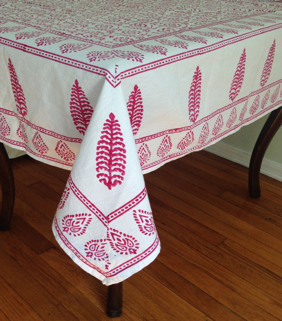 Beau Red Block Printed Table Cloth ...