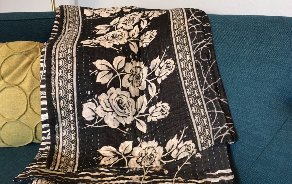 Black & White Floral Ethically Sourced Kantha Throw Blanket