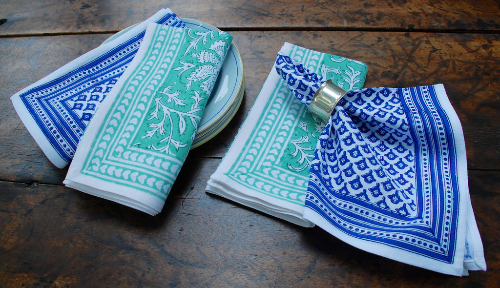 Lakshmi Green and Blue Napkins