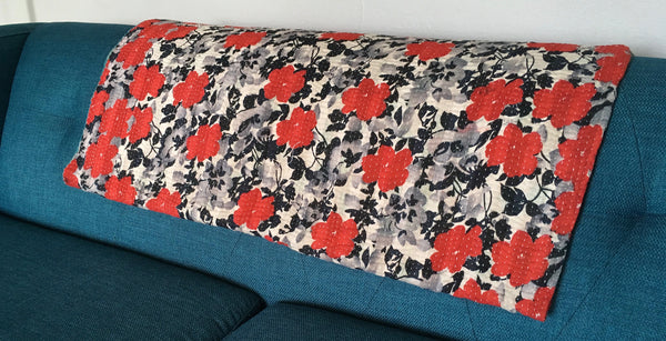 Kantha Throw Blanket - Red Flowers