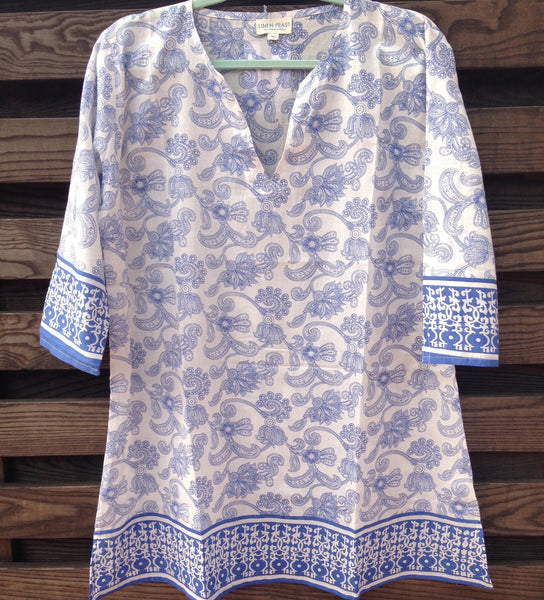 Blue Floral Beach Cover Up