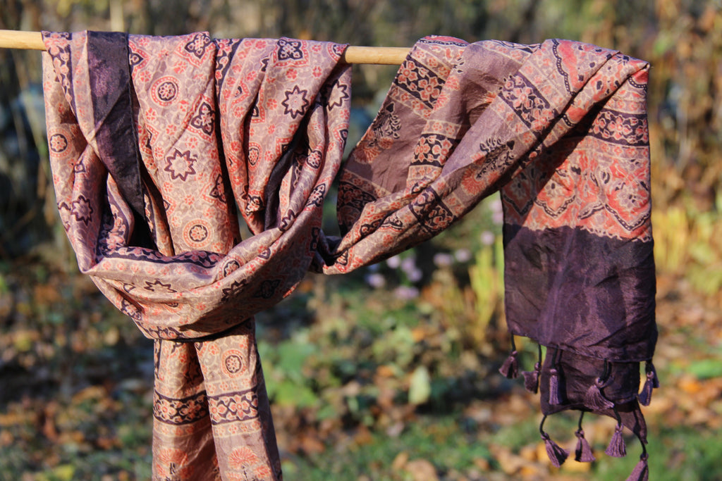 Block Printed Silk Scarf