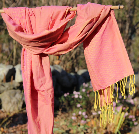 Peach Handwoven Cotton Scarf