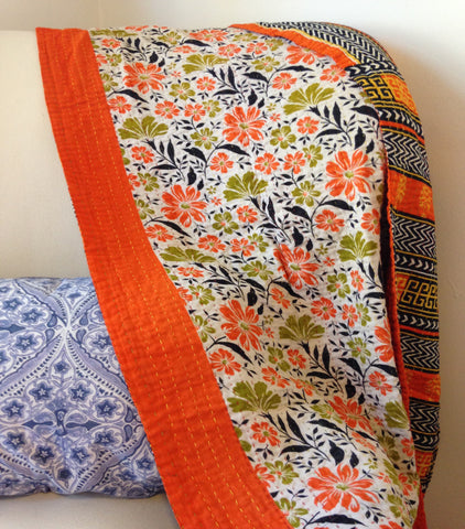 Orange Kantha Baby Blanket