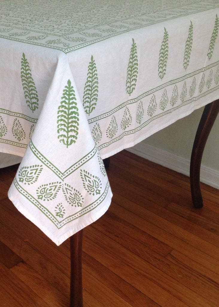 Green Block Printed Table Cloth