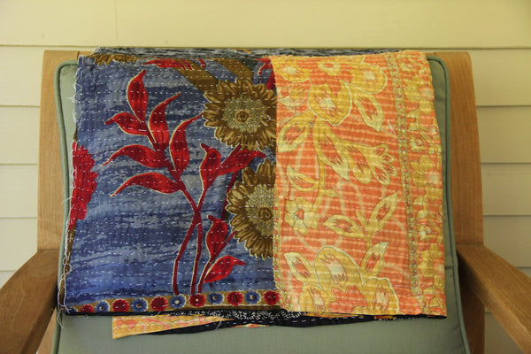 Blue & Yellow Vintage Kantha Throw Blanket