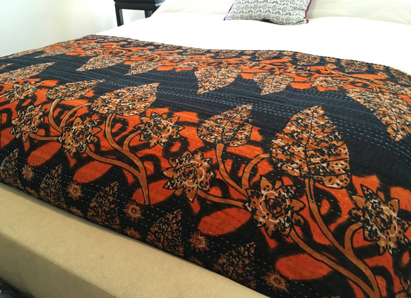 Kantha Throw Blanket - Orange Leaves