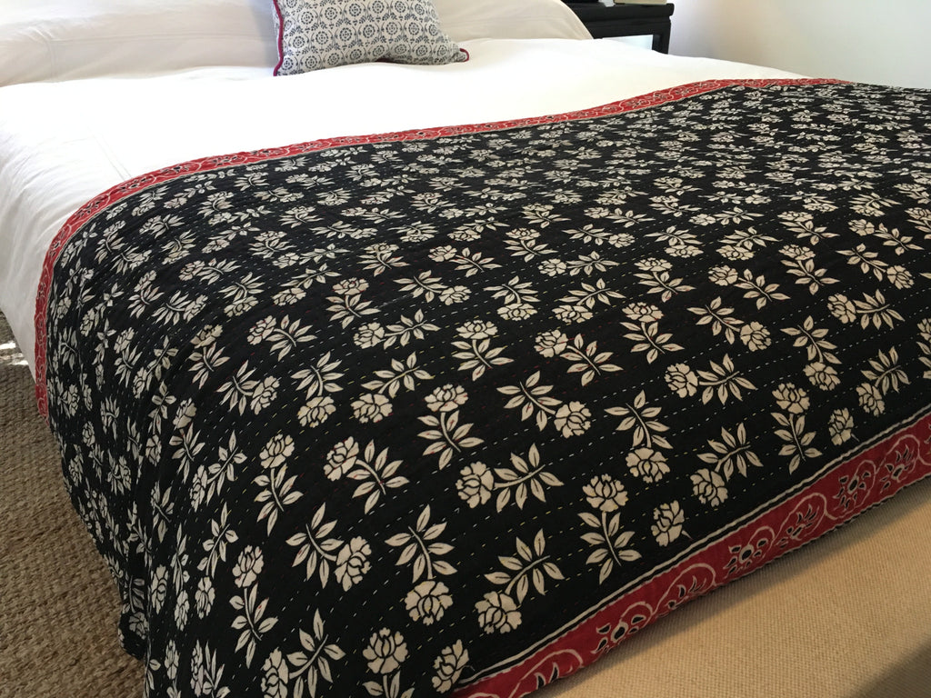 Kantha Throw Blanket - Red & Black