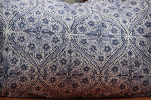 Grey Block Printed Cotton Decorative Pillow Cover