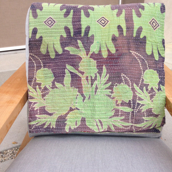 Green & Grey Vintage Kantha Throw Blanket