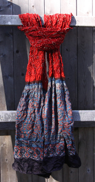 Red & Blue Silk Scarf