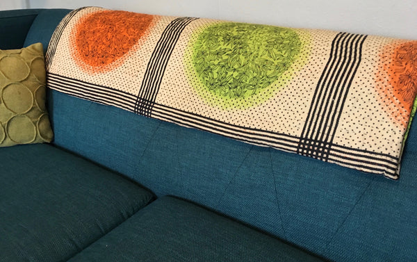 Lime Ethically Sourced Kantha Throw Blanket
