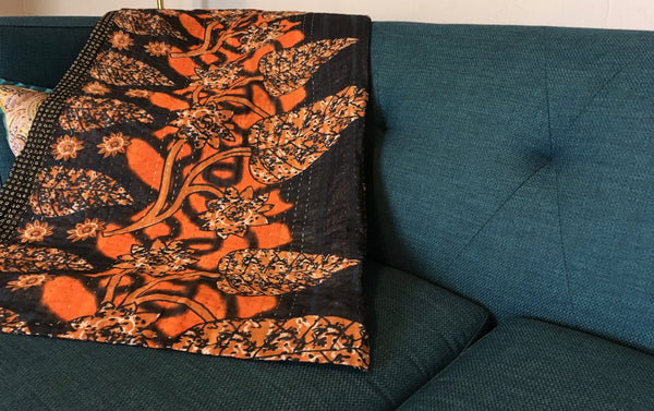 Orange Ethically Sourced Kantha Throw Blanket
