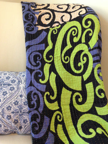 Blue & Bright Green Kantha Baby Blanket