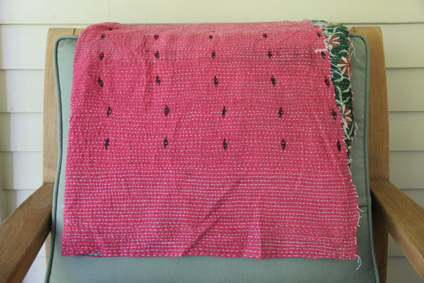 Pink & Green Vintage Kantha Throw Blanket