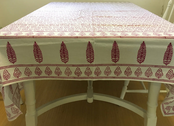Block Printed Table Cloth - Cerise